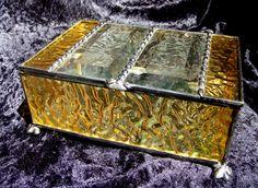 English Muffle Glass Jewelry Box