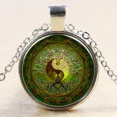Green Yin and Yang Gem Pendant Necklace. A range of spiritual necklaces and jewelry by Peace of Mindfulness.