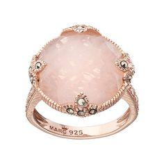 Lavish by TJM 18k Rose Gold Over Silver Rose Quartz & Marcasite Circle Ring $200