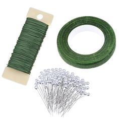 eBoot Floral Arrangement Kit 1/ 2 Inch Floral Tape, 22 Gauge Floral Wire and 100 Pieces Ball Head Pins