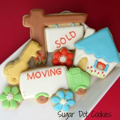 These are the cutest cookies. I love delivering them to my clients!  http://sugardotcookies.weebly.com/new-home-cookies.html