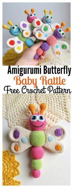 Patrón libre del ganchillo del traqueteo del bebé de la mariposa de Amigurumi