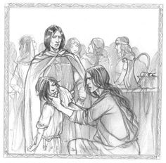 Maedhros trying to wipe the ruddiness off Caranthir's face by chmiel