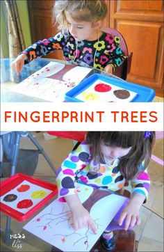Looking for Fall Crafts for Kids? We created some fingerprint tress with this…