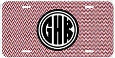 Personalized Monogrammed Chevron Pink Black Bold License Plate Auto Tag Top Craft Case http://www.amazon.com/dp/B00N024WL8/ref=cm_sw_r_pi_dp_9wotub1B41YK1