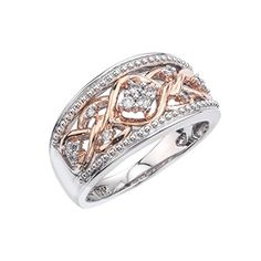 Diamond Band in 10k Rose Gold plated Sterling Silver (0.15 carats, H-I I2) AX Jewelry http://www.amazon.com/dp/B00PJ3KTIQ/ref=cm_sw_r_pi_dp_FVV1wb1JWW5A6