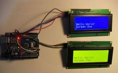 This project shows how to drive two 20x4 LCD displays on the I2C bus on an arduino. Each display has an 80 character buffer and works as a scrolling terminal. Print...