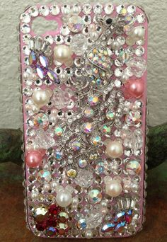 Blinged out iPhone cases | Blinged out Peacock iPhone 4/4s Case. $70.00, via Etsy. Too beautiful ...
