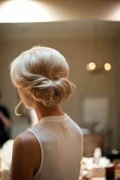 Pretty hair style for a guest at wedding or just more elegant style at work. Preppy and chic.