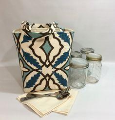 Mason jar carrier bag - Pint 4 jar Jars to Go bag mason canning jar lunch  picnic shopping tote bag