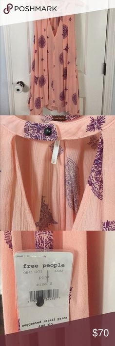 Free People Tree Swing Free People Pinky/Peach with purple medallions. Never worn. New with tags. Size Small. Love it but not my size  Wear as a short dress or tunic with leggings Free People Dresses Mini