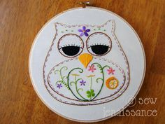 Embroidery Pattern PDF Owl Spring Flower