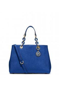Geanta CYNTHIA Md Satchel Michael Michael Kors Electric Blue, Satchel, Michael Kors, Shoulder Bag, Chain, Medium, Leather, Bags, Fashion