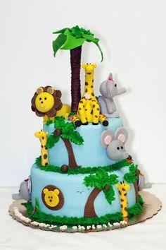 Blue Safari Baby Shower Theme | Safari Themed Baby Shower Cake