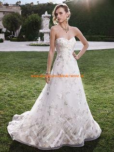 Casablanca A-linie Romantische Traumhafte Brautkleider aus Organza mit Applikation