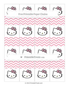 Free Pastel Light Pink Chevron  Hello Kitty Paper Chains