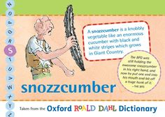 A snozzcumber is a knobbly vegetable like an enormous cucumber with black and white stripes which grows in Giant Country. Roald Dahl Day, Childrens Books, Cucumber, Stripes, English, Education, Black And White, Country, Pictures