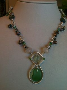Fancy chain with a green seaglass nugget drop.