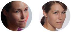 Gerät verfügt Face Up! Vor und nach Applikation