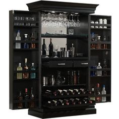 American Ashley Heights Black Stain Home Bar Wine Cabinet ($1,698) ❤ liked on Polyvore featuring home, furniture, storage & shelves, bar cabinets, black furniture, black wine cabinet, american home furniture, liquor display cabinet and colored furniture