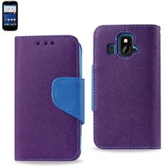 Reiko Wallet Case 3 In 1 For ZTE Z995 Overture Purple With Blue Interior Leather-Like Material And Polymer Cover