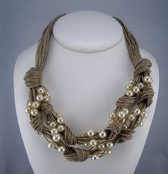 Necklace natural linen thread knots resine pearls net braid handmade desing Mediterranean style