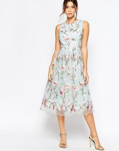 Image 4 ofChi Chi London High Neck Midi Dress with Floral Embrodery