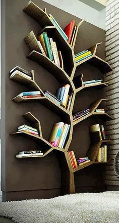 Tree Bookshelf/ Room Decoration + useful Tree Bookshelf, Cool Bookshelves, Bookshelf Ideas, Tree Shelf, Bookshelf Design, Bookcases, Tree Wall, Diy Bookshelf Wall, Wall Shelves