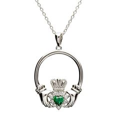 Retro Sterling Silver Claddagh Pendant with stone set CZ and Green CZ heart shape.