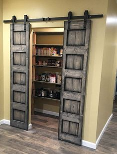 Sliding barn door design ideas for your home with mirror, window. Interior and exterior sliding barn door for your bathroom, bedroom, closet, living room. Rustic Closet, Barn Door Closet, Diy Barn Door, Barn Door Hardware, Barn Doors For Closets, House Doors, Bedroom Doors, Closet Door Curtains, Sliding Door Closet