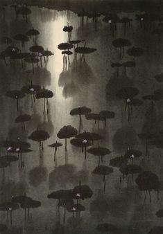 BO YUN (Né en 1948) Lotus Aquarelle et encre sur papier Non signée 57 x 40 cm