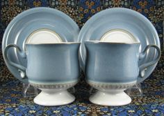 Denby Castile Blue Denim Cups and Saucers England Stoneware 1970s