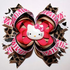 "4"" Hello Kitty Inspired Very Hot Pink Zebra Cheetah & Cow Print Stacked Hair Bow"