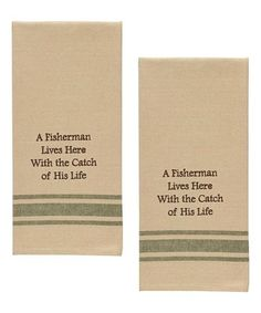 Love this 'A Fisherman Lives Here' Dish Towel - Set of Two on #zulily! #zulilyfinds