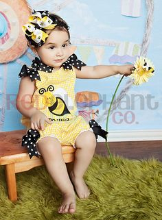 Bumble Bee Bubble Romper, Handmade Baby Clothes from Red Elephant Clothing www.redelephantclothing.com