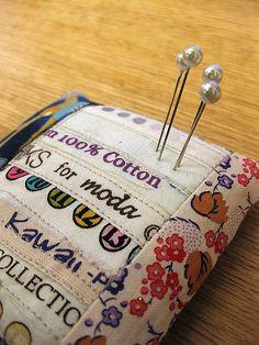 selvedge pincushion - cute gift idea!