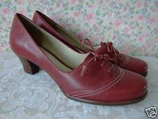 UK 7 Clarks Ashill Bombay vintage 40s WW2 style red leather lace up court shoes