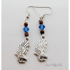 Ravenclaw Inspired Eagle Earrings, Blue Bronze Eagle Charm Earrings,... (£12) ❤ liked on Polyvore featuring jewelry, earrings, harry potter, animal earrings, bead charms, animal charms, beading charms and earring charms