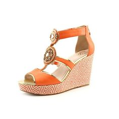 e0cbae73b53f6 Vince Camuto Torta Womens Size 7.5 Orange Leather Wedge Sandals Shoes
