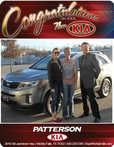 Congratulations to Carolyn Schrieber and her new 2014 Kia Sorento! - From Jeff Baker at Patterson Kia