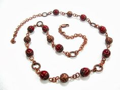 Burghundy Dark red necklace on copper chain Antiqued by SanaGem, $45.00