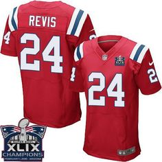 """Mary Jersey"" Nike Patriots 24 Darrelle Revis Red Alternate Super Bowl XLIX Champions Patch Men Stitched NFL Elite Jersey"