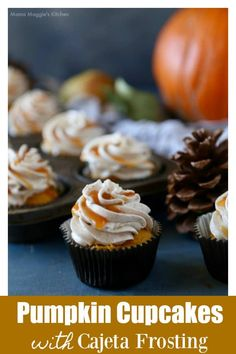 When its chilly outside this dessert will warm your insides. Pumpkin Cupcakes with Cajeta Frosting is the best thing youll eat this fall. By Mama Maggie's Kitchen Sugar Free Desserts, Cupcake Recipes, Cupcake Cakes, Pumpkin Cupcakes, Yummy Cupcakes, Classic Desserts, Fall Desserts, Perfect Cupcake Recipe, Cupcake Calories