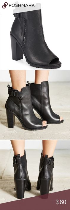 """Kelsi Dagger Brooklyn Lakeside Bootie Sexy black bootie with a moto-chic edge. 4.25"""" stacked heel. Leather upper. Round toe open. Adjustable buckle ankle strap. Side zip closure.  #newyearcleancloset On here to declutter, so  trades. If I want something in your closet badly enough, I'll buy it   Reasonable offers always welcome! Kelsi Dagger Shoes Ankle Boots & Booties"""