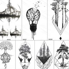 Geometric Mountain Tattoo, Geometric Tattoos Men, Geometric Tattoo Design, Triangle Tattoos, Geometric Tattoo Drawings, Geometric Tattoo Tree, Triangle Tattoo Design, Arm Tattoos For Women, Tattoos For Guys