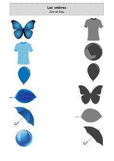 Fiche d'activité niveau maternelle de type association - Les ombres - Juin en Bleu