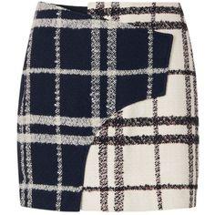 Derek Lam 10 Crosby Women's Mixed Plaid Mini Skirt (24.670 RUB) ❤ liked on Polyvore featuring skirts, mini skirts, short tartan skirt, short plaid skirt, black and white mini skirt, short mini skirts and short plaid mini skirt