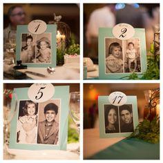 Números de mesa para casamento: Uma forma super criativa de numerar as mesas é usar essa oportunidade para compartilhar mais informações sobre os noivos, com fotos e lembranças do passado. - jordan weiland photography