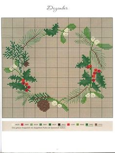 the months of the year in counted cross stitch. Cross Stitch Christmas Ornaments, Xmas Cross Stitch, Cross Stitch Alphabet, Christmas Embroidery, Cross Stitch Flowers, Christmas Cross, Cross Stitch Charts, Cross Stitch Designs, Cross Stitching