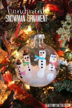 Handprint Snowman Ornament - Kid Craft